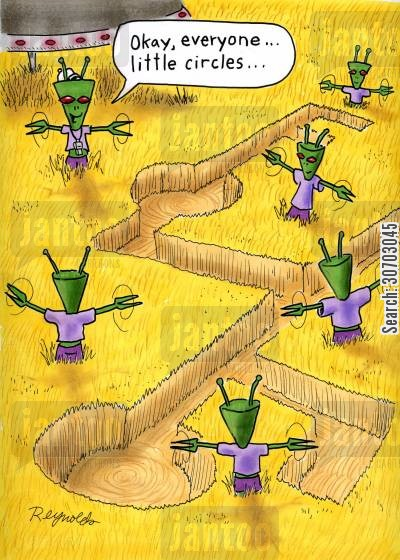 crop circles cartoon humor: Alien Work Outs.