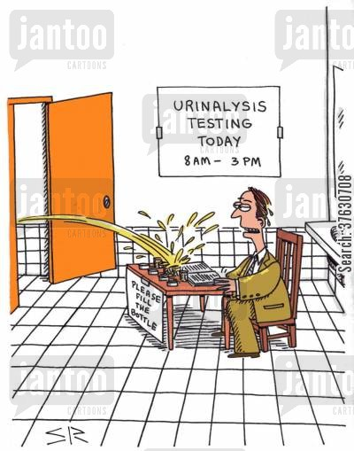 marksman cartoon humor: Urinalysis Testing Today -- Please Fill The Bottle,