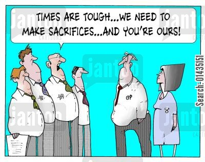 sacrificed cartoon humor: 'Times are tough...we need to make sacrifices...and you're ours!'