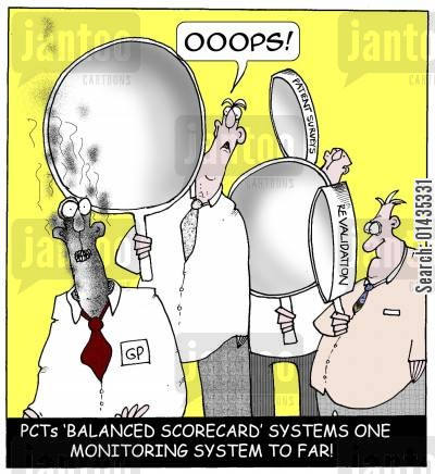 scorecard cartoon humor: PCTs balanced scorecard systems one monitoring system to far.