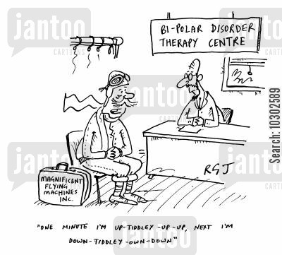 those magnificent men in their flying machines cartoon humor: 'Bi-polar disorder therapy centre'