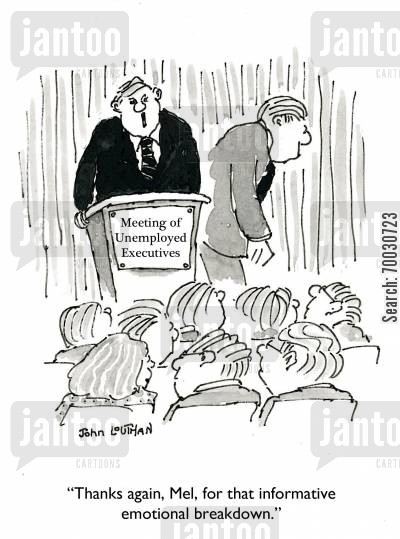 seminars cartoon humor: 'Thanks again, Mel, for that informative emotional breakdown.'