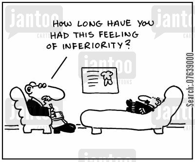 short man complex cartoon humor: 'How long have you had this feeling of inferiority?'