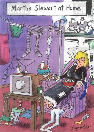 dirty house cartoon humor: Martha Stewart at Home.