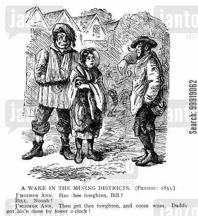 victorian miners cartoon humor: A Wake in the Mining Districts.