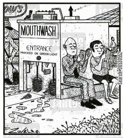 mouthwash cartoon humor: Mouthwash.