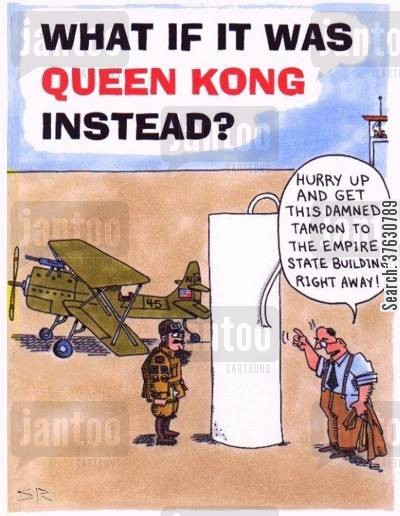 king kong cartoon humor: 'Hurry up and get this damned tampon to the Empire State Building right away'