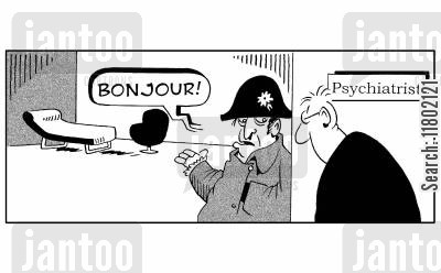 mad man cartoon humor: 'Bonjour!' Psychiatrist is the mad one, dressed in a Napoleon outfit.