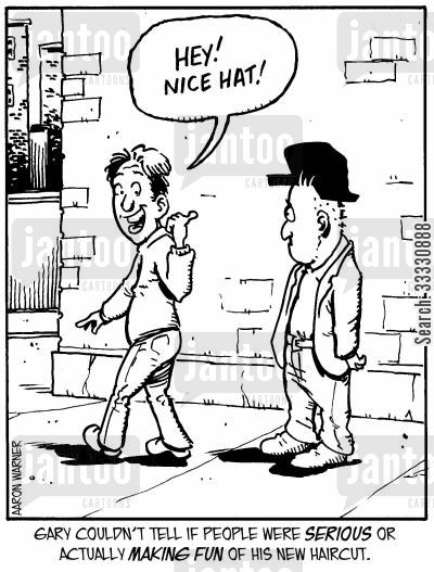 barbers cartoon humor: Gary couldn't tell if people were serious or actually making fun of his new haircut. ('Hey! Nice hat!')