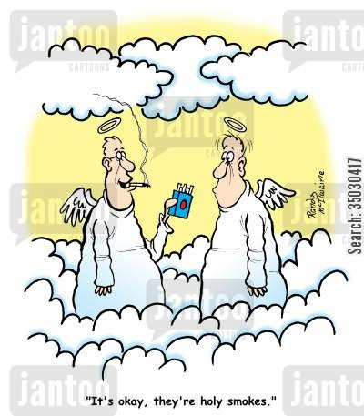 no smoking cartoon humor: 'It's okay, they're holy smokes.'