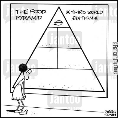 diets cartoon humor: The Food Pyramid - Third World Edition