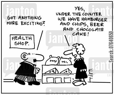 chocolate cake cartoon humor: 'Got anything more exciting?' - 'Yes, under the counter we have hamburger and chips, beer and chocolate cake.'