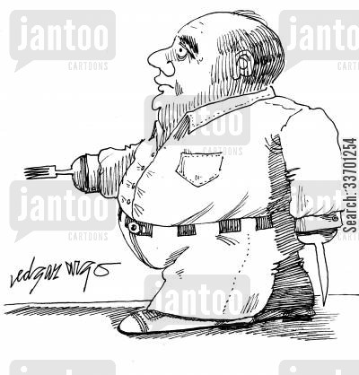 knife and fork for hands cartoon humor: Overweight man with knife and fork for hands.