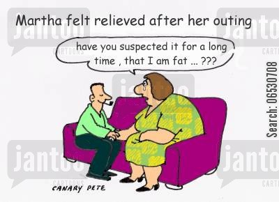 fat woman cartoon humor: Martha felt relieved after her outing.