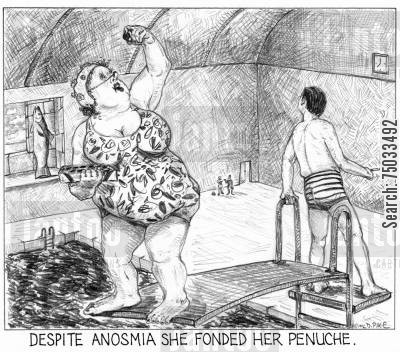 diving boards cartoon humor: 'Despite anosmia she fonded her penuche.'