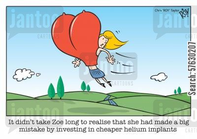 helium balloons cartoon humor: It didn't take Zoe long to realise that she had made a big mistake by investing in cheaper helium implants.