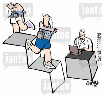 psychological test cartoon humor: Joggers on visual illusion staircase.