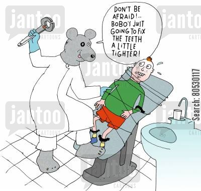 dental surgeon cartoon humor: 'Don't be afraid!...Bobo's just going to fix the teeth a little tighter.'