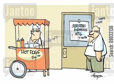 plump cartoon humor: Overeaters Anonymous Meeting - Hot dog stand by door.