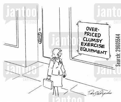 exercise equipment cartoon humor: Over-priced clumsy exercise equipment.