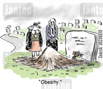 heart diseases cartoon humor: Grave has mound caused by obese deceased