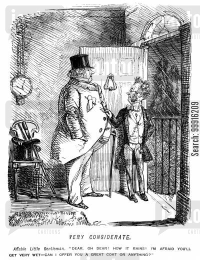 stout cartoon humor: Small man offering a large man the loan of a coat