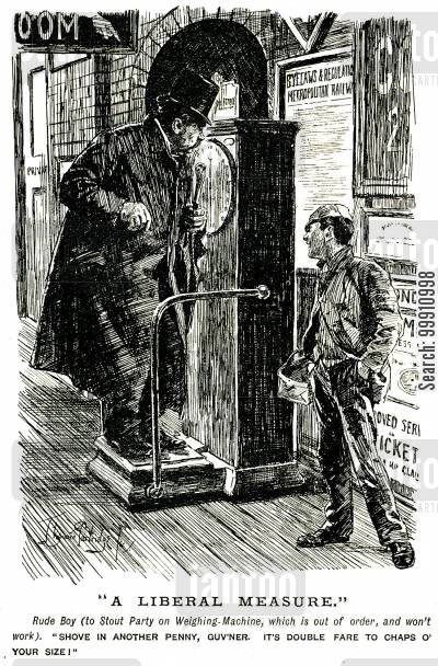 large cartoon humor: Boy making rude remark to a stout man on a broken weighing machine