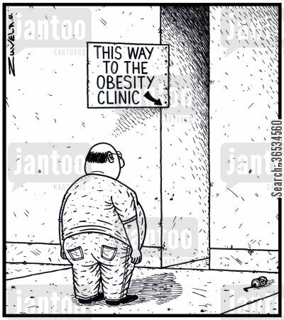 clothing size cartoon humor: 'This way to the Obesity Clinic'