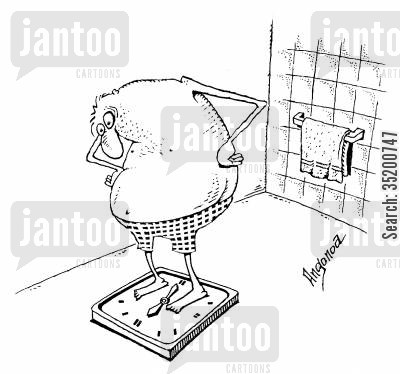 bathroom scales cartoon humor: Man standing on weighing scales in his bathroom