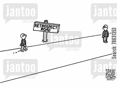 meditating cartoon humor: Retrospect Road