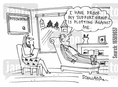plotters cartoon humor: 'I have proof my support group is plotting against me.'