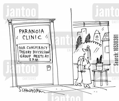 group therapy cartoon humor: Conspiracy theory support group