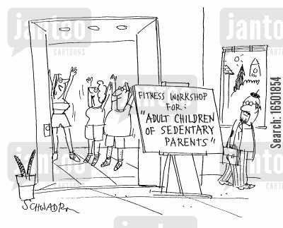 sedentary cartoon humor: Fitness Workshop for 'Adult Children of Sedentary Parents.