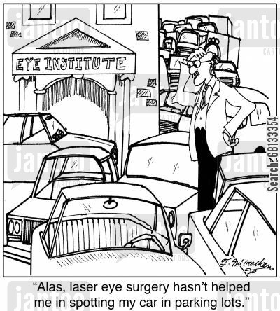lasers cartoon humor: 'Alas, laser eye surgery hasn't helped me in spotting my car in parking lots.'