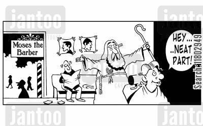 red sea cartoon humor: Moses the barber - 'Hey, neat part!'