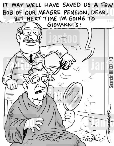 blotched job cartoon humor: 'It may well have saved us a few bob out of our meagre pension, dear, but next time I'm going to Giovanni's!'