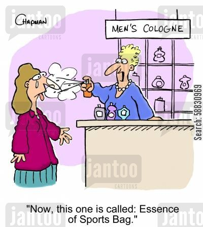 cologne cartoon humor: 'Now, this one is called: Essence of Sports Bag.'