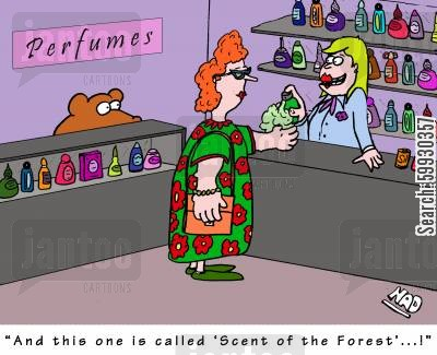odors cartoon humor: 'And this one is called 'Scent of the Forest'...!'