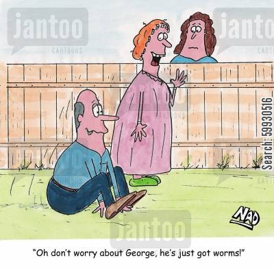 nosy cartoon humor: 'Oh don't worry about George, he's just got worms.'