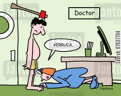 injuries cartoon humor: Verruca.