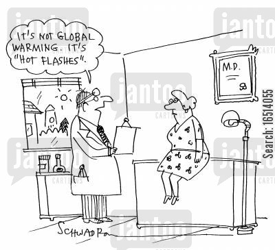 medicines cartoon humor: 'It's not global warming. It's 'Hot Flashes'.'