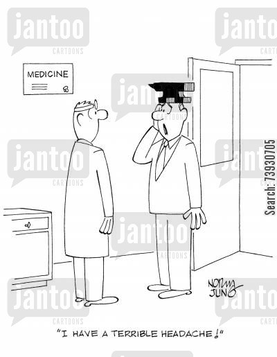 head injury cartoon humor: 'I have a terrible headache!'