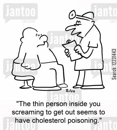 get out cartoon humor: 'The thin person inside you screaming to get out seems to have cholesterol poisoning.'