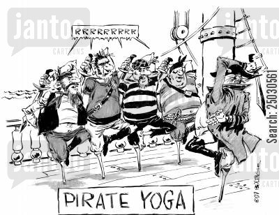 calm cartoon humor: Pirate Yoga.