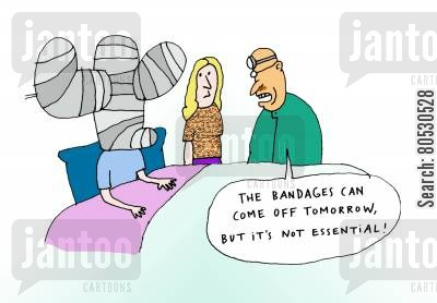 plastic surgeons cartoon humor: 'The bandages can come off tomorrow, but it's not essential!'