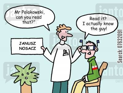 poland cartoon humor: Mr Polakowski, can you read that? Read it? I actually know the guy!