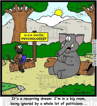 poaching cartoon humor: 'It's a recurring dream: I'm in a big room, being ignored by a whole lot of politicians...'