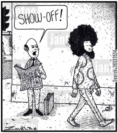 bald head cartoon humor: Show off!