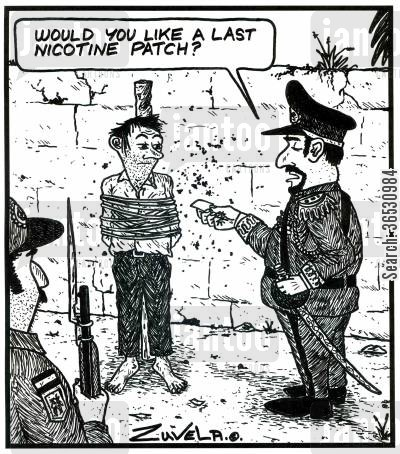 nicotine patch cartoon humor: 'Would you like a last nicotine patch?'