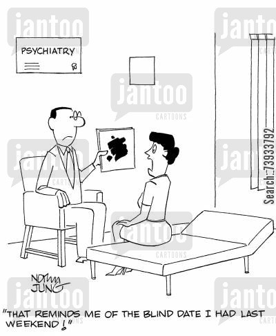 rorschach test cartoon humor: 'That reminds me of the blind date I had last weekend!'